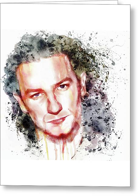 Bono Vox Greeting Card by Marian Voicu