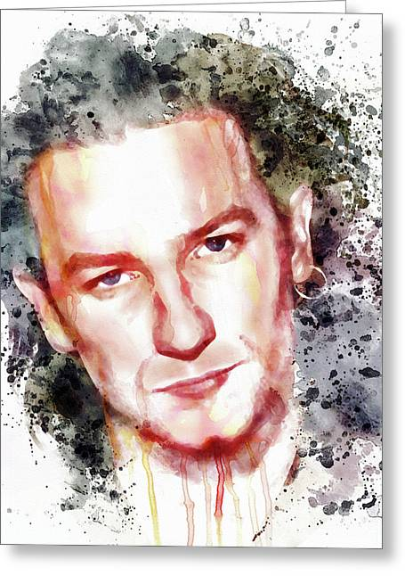 Gray Hair Greeting Cards - Bono Vox Greeting Card by Marian Voicu