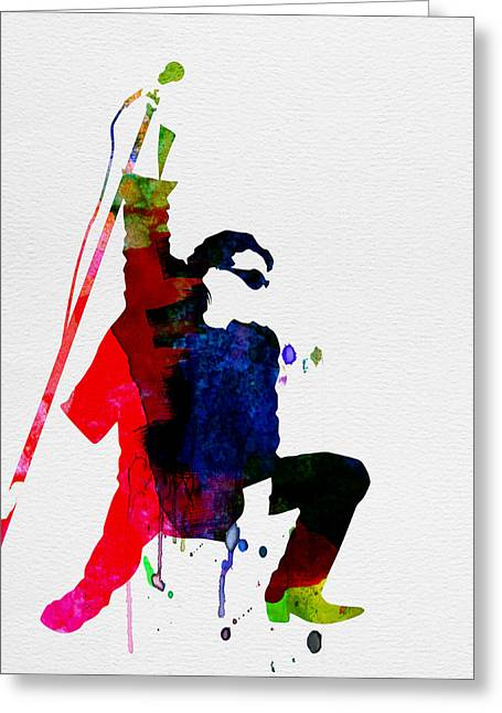 Irish Rock Band Greeting Cards - Bono Watercolor Greeting Card by Naxart Studio