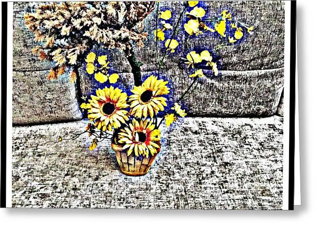 Bonsai And Sunflowers 2 Greeting Card by Jagjeet Kaur