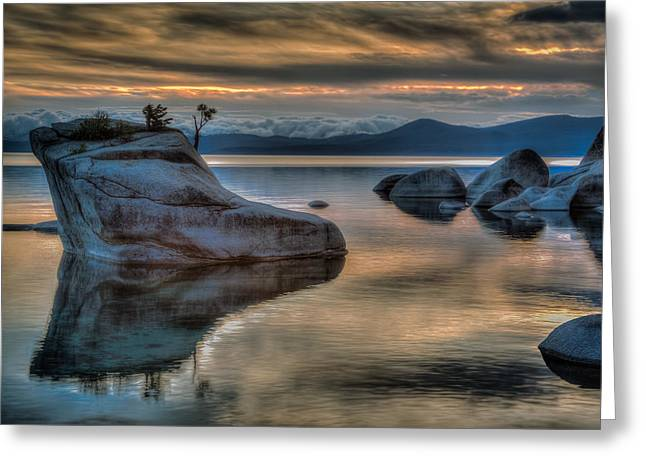 Storm Clouds Pyrography Greeting Cards - Bonsai Rock at Sunset Greeting Card by Rick Strobaugh