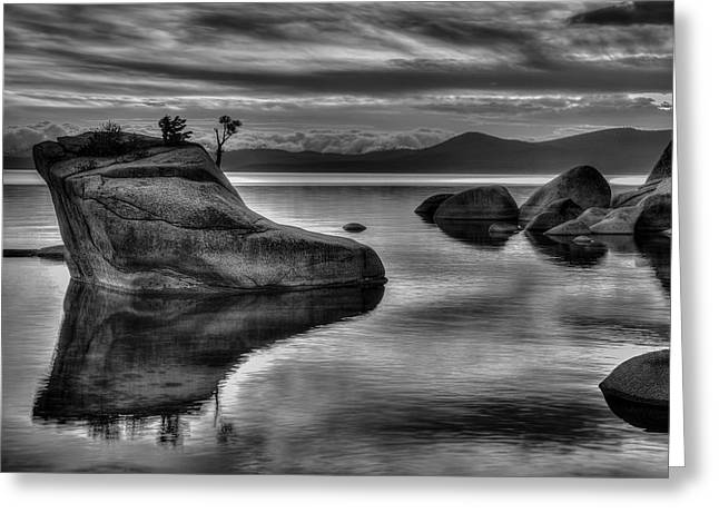 Storm Clouds Pyrography Greeting Cards - Bonsai Rock BW Greeting Card by Rick Strobaugh
