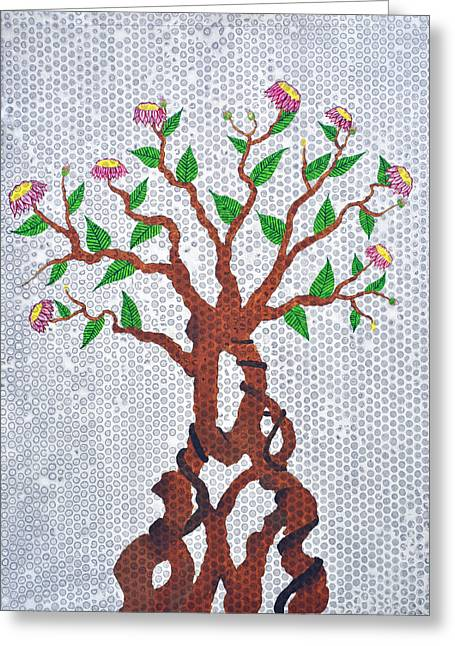 Pink Flower Branch Paintings Greeting Cards - Bonsai Series No. 4 Greeting Card by Sumit Mehndiratta