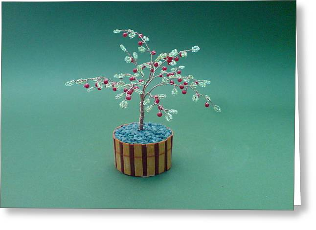 Moss Green Sculptures Greeting Cards - Bonsai Wire Tree Sculpture Beaded Apple      Greeting Card by Bujas Sinisa