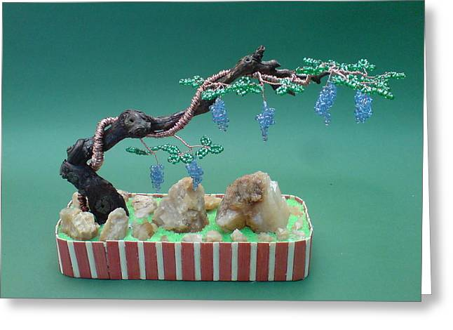 Handmade Sculptures Greeting Cards - Bonsai Wire Tree Sculpture Beaded Grape Vineyard      Greeting Card by Bujas Sinisa
