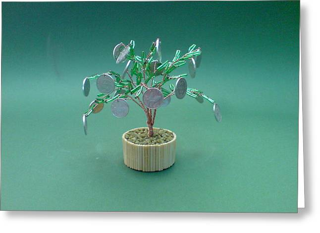 Fantasy Sculptures Greeting Cards - Bonsai Wire Tree Sculpture Beaded Money      Greeting Card by Bujas Sinisa