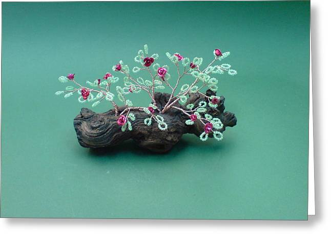 Seeds Sculptures Greeting Cards - Bonsai Wire Tree Sculpture Beaded Roses      Greeting Card by Bujas Sinisa