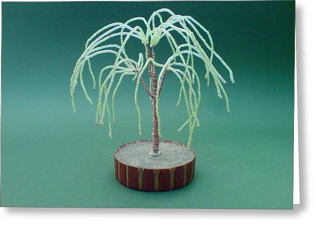 Handmade Sculptures Greeting Cards - Bonsai Wire Tree Sculpture Beaded Willow      Greeting Card by Bujas Sinisa