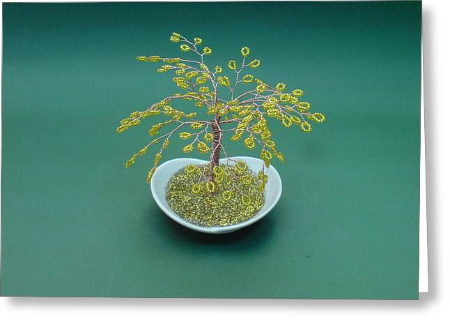 Handmade Sculptures Greeting Cards - Bonsai Wire Tree Sculpture Golden Beaded      Greeting Card by Bujas Sinisa