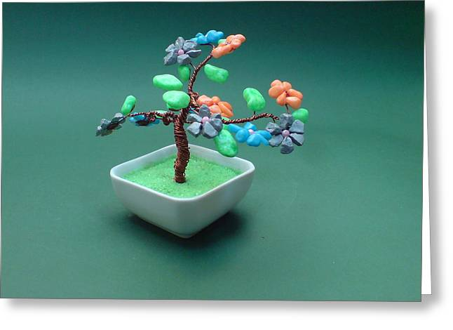 Moss Green Sculptures Greeting Cards - Bonsai Wire Tree Sculpture Stone Gems      Greeting Card by Bujas Sinisa