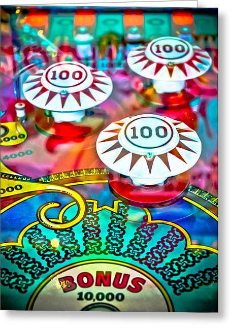 Fast Ball Greeting Cards - Bonus Points - Pinball Greeting Card by Colleen Kammerer