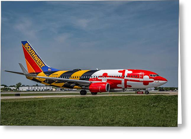 Recently Sold -  - Commercial Photography Greeting Cards - Boeing 737 Maryland Greeting Card by Guy Whiteley