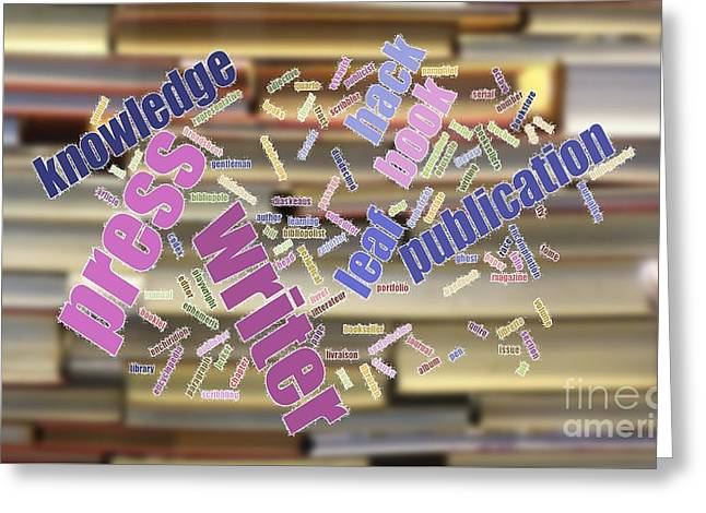 Book And Publication Background And Wordcloud Greeting Card by Yali Shi