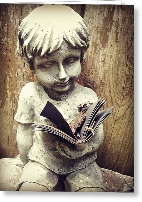 Book Sculptures Greeting Cards - Book Boy Greeting Card by Brynn Ditsche