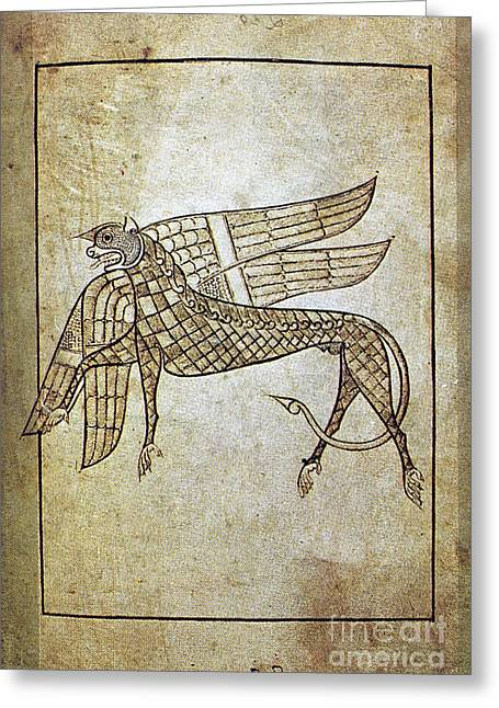 Aodng Greeting Cards - BOOK OF DURROW, c680 A.D Greeting Card by Granger