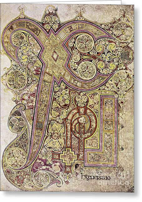 Initialed Greeting Cards - Book Of Kells: Christ Page Greeting Card by Granger
