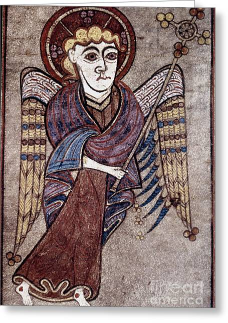 Gospel Of Matthew Greeting Cards - Book Of Kells: St. Matthew Greeting Card by Granger