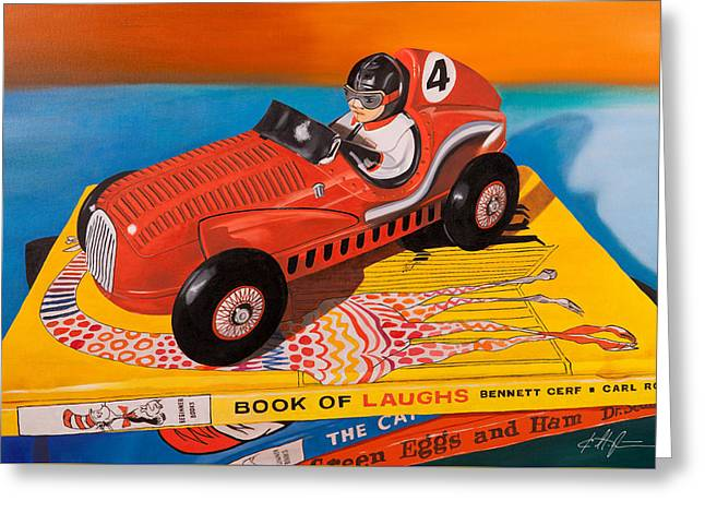 Book Of Laughs Greeting Card by Karl Melton