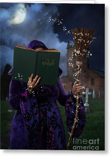 Witches Broom Greeting Cards - Book Of Magic Spells Greeting Card by Amanda And Christopher Elwell