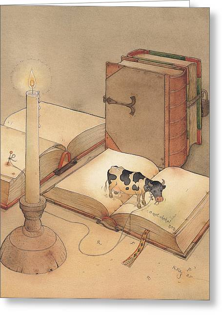 Science Greeting Cards - Bookish Cow Greeting Card by Kestutis Kasparavicius
