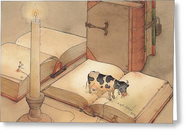 Bookish Cow Greeting Card by Kestutis Kasparavicius