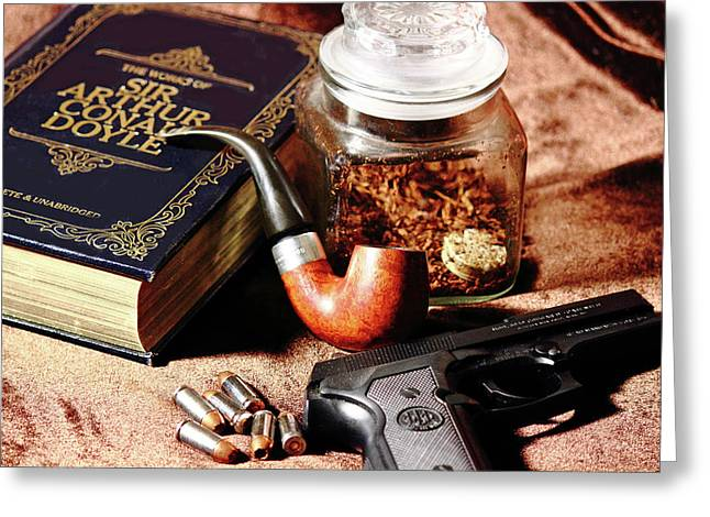Smoking Book Greeting Cards - Books and Bullets Greeting Card by Barry Jones