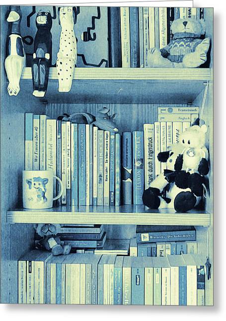 Books Are Blue Today Greeting Card by Jutta Maria Pusl