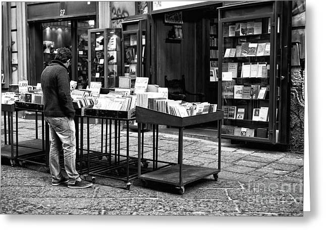 Neapolitan Greeting Cards - Books in Naples Greeting Card by John Rizzuto