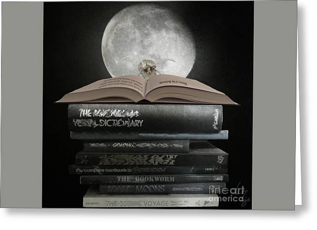 Bookish Greeting Cards - Bookworm Greeting Card by Lozja Mattas