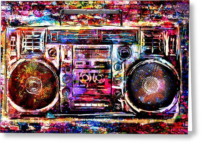 Boombox Art Greeting Card by Pat Spark
