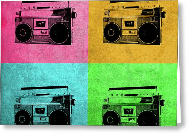 Boombox Stereo Vintage Pop Art Greeting Card by Design Turnpike