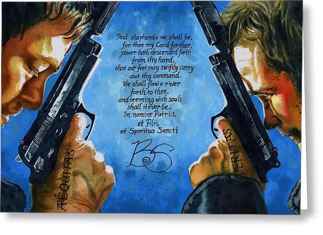 Sean Paintings Greeting Cards - Boondock Saints Greeting Card by Ken Meyer jr