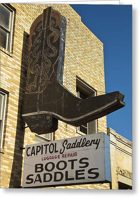 Texas Boots Greeting Cards - Boot Sign Greeting Card by Mark Weaver