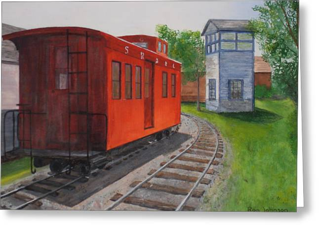 Caboose Paintings Greeting Cards - Boothbay Caboose Greeting Card by Ronald e Johnson Johnson