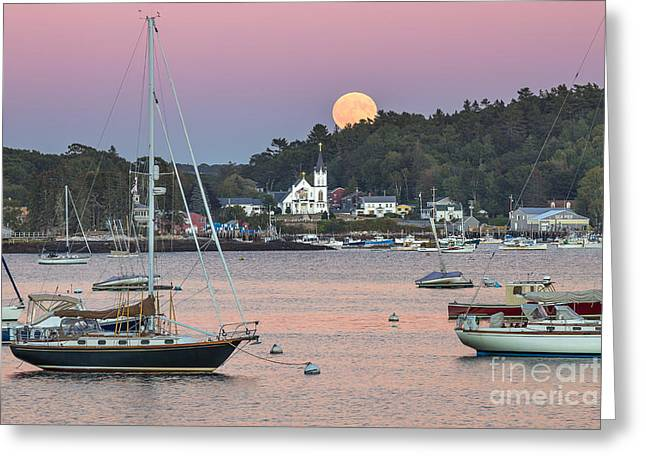 Boothbay Harbor Greeting Cards - Boothbay Harbor Supermoon Greeting Card by Benjamin Williamson