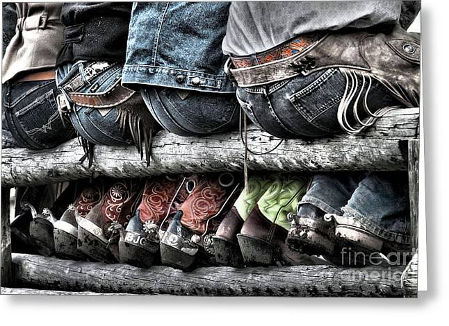 Chaps Greeting Cards - Boots and Butts Greeting Card by Heather Swan