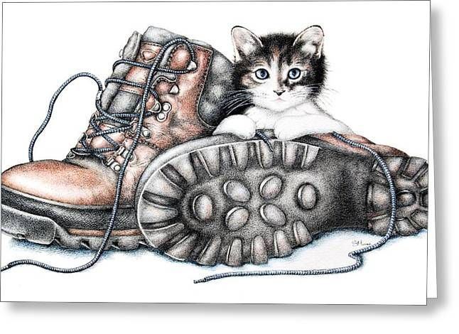 Baby Animal Drawings Greeting Cards - Boots and Kitten Greeting Card by Sandra Moore