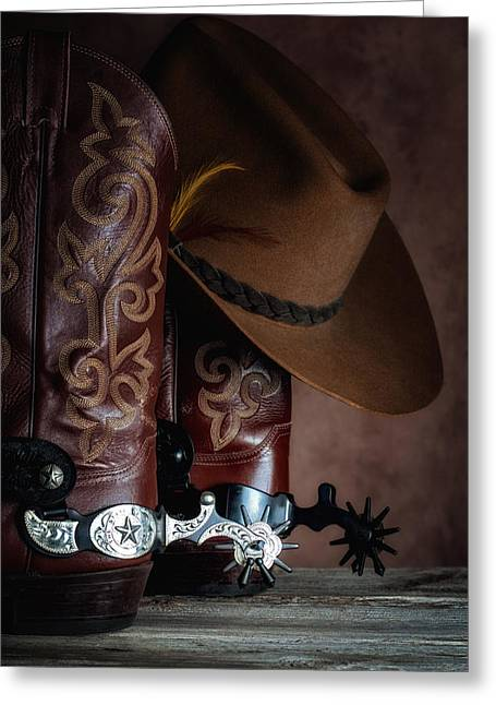 Boot Greeting Cards - Boots and Spurs Greeting Card by Tom Mc Nemar