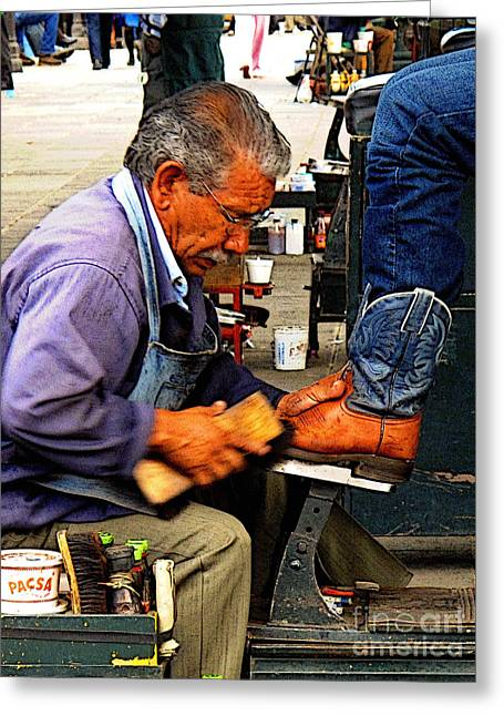 Men Shoe Greeting Cards - Boots Getting A Shine Greeting Card by Olden Mexico