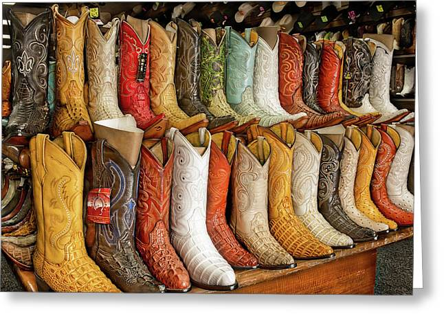 Boots In Every Color Greeting Card by Brenda Bryant