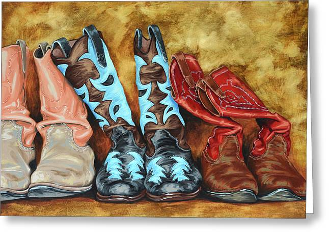 Cowboys Greeting Cards - Boots Greeting Card by Lesley Alexander