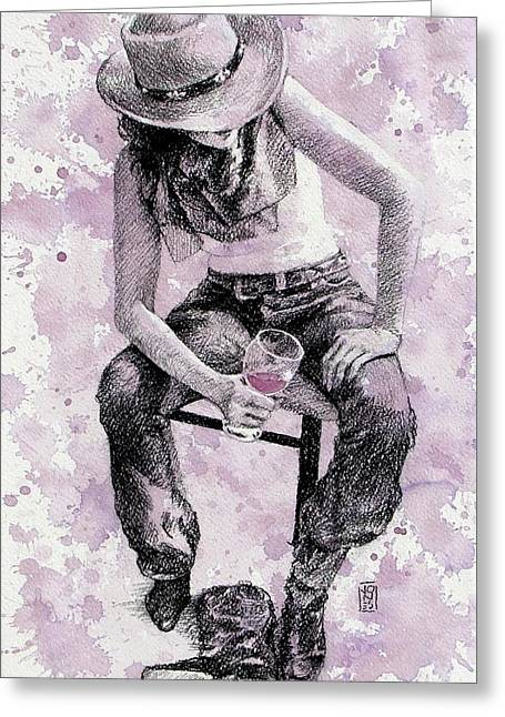 Vineyards Drawings Greeting Cards - Boots Off   Evening On Greeting Card by Debra Jones
