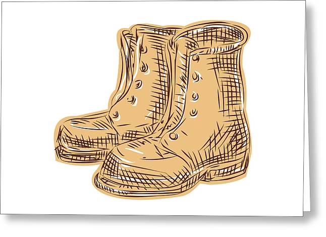 Etching Digital Greeting Cards - Boots Old Etching Greeting Card by Aloysius Patrimonio