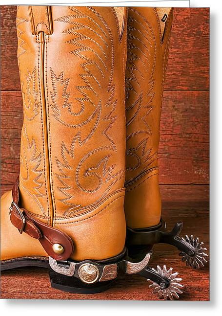 Western Boots Greeting Cards - Boots With Spurs Greeting Card by Garry Gay