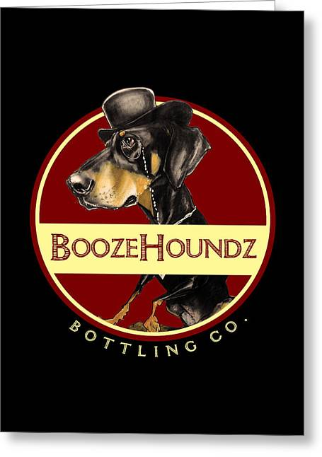 Booze Drawings Greeting Cards - BoozeHoundz Bottling Co. Greeting Card by John LaFree