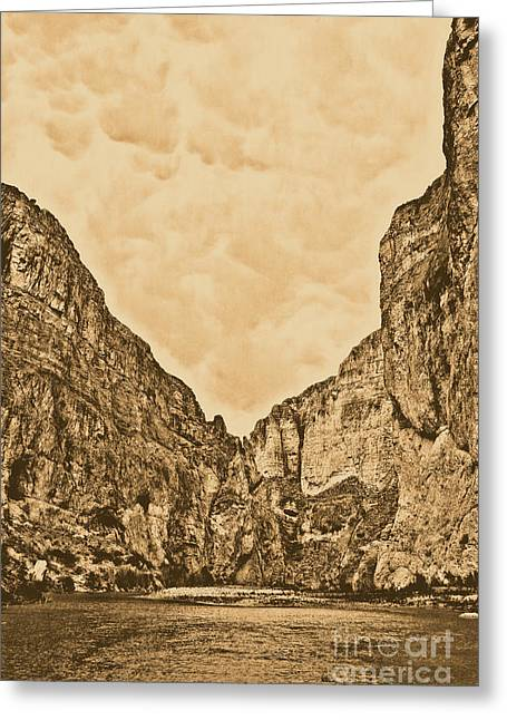 Rustic Greeting Cards - Boquillas Canyon and Scalloped Clouds Big Bend National Park Texas Rustic Digital Art Greeting Card by Shawn O