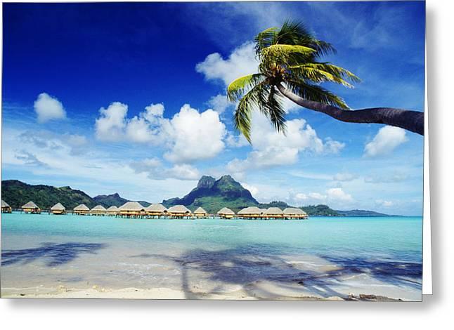 Thatch Greeting Cards - Bora Bora, Lagoon Resort Greeting Card by Himani - Printscapes