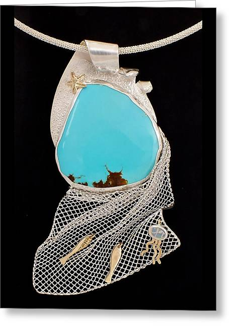 Jelly Fish Greeting Cards - Bord de Mer or Sea Shore Necklace Greeting Card by Marie-Claire Dole