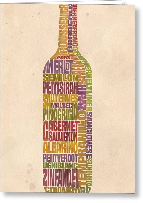 Wine Bottle Greeting Cards - Bordeaux Wine Word Bottle Greeting Card by Mitch Frey