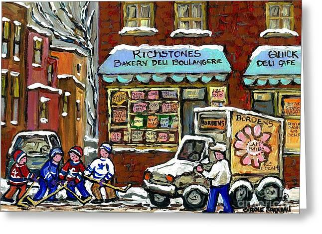 The Plateaus Greeting Cards - Bordens Milkman Delivery Truck At Richstones Bakery Montreal Hockey Paintings Best Canadian Art  Greeting Card by Carole Spandau